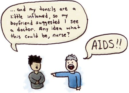 An anti-gay nurse assumes a gay patient has AIDS.