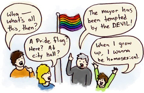 A town gathers around a Pride flag, pondering at how the mayor was tempted by the devil.
