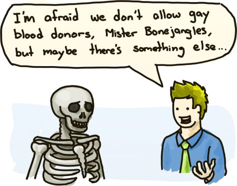 And, no, I'm not sure why a skeleton would be able to donate blood in the first place.