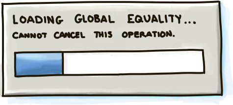 Global equality loading screen with progress bar inching forward.