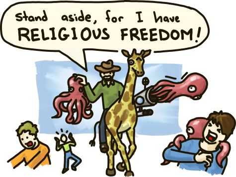 A man riding a giraffe shoots octopi at pedestrians, shouting 'Stand aside, for I have religious freedom!'