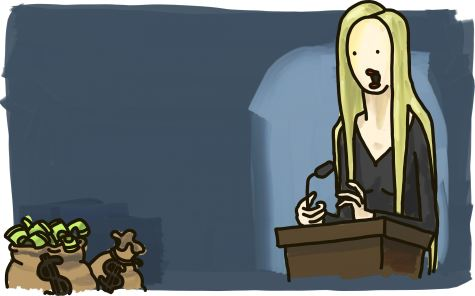 Ann Coulter giving a speech with bags of money in the corner.
