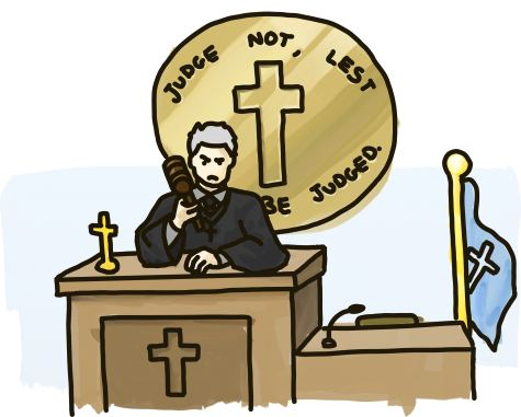 A judge sits below Christian iconography, below the phrase 'Judge not lest ye be judged.'