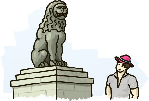 Dr. Flamingo Jones stands beside the Lion of Chaironeia.