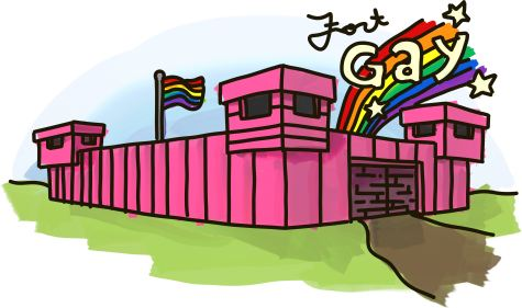 A pink fort with a rainbow and the words Fort Gay