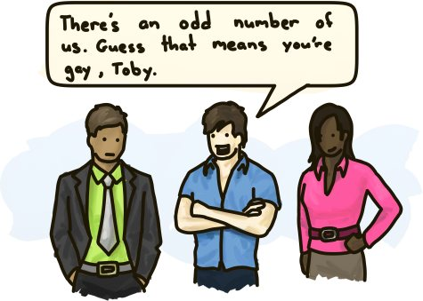There's an odd number of us. Guess there means you're gay, Toby!