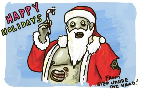 Zombie Santa holding a candy cane.