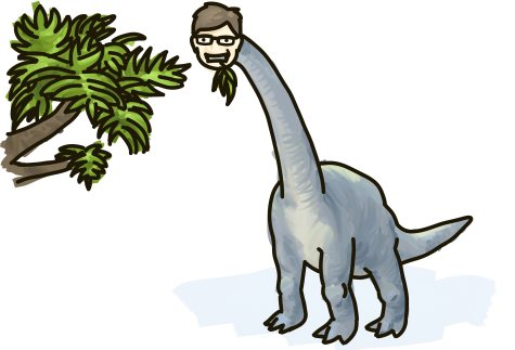 A dinosaur with the head of Alberta's premier, Ed Stelmach, muches on leaves.