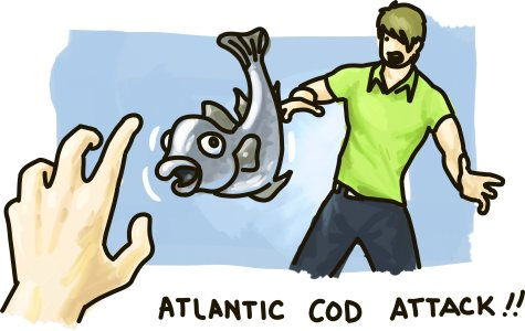 An atlantic cod is hurled at a terrified young man.