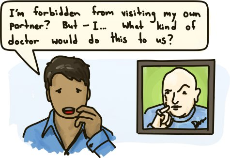 A man wonders what kind of doctor would forbid him from visiting his partner in the hospital. In the corner, a picture of Doctor Evil hangs on the wall.