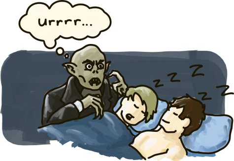 Nosferatu hesitates over a sleeping gay couple.