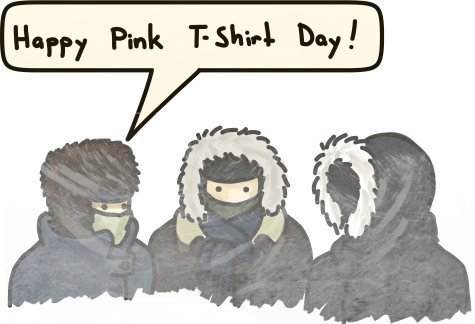 Three students, bundled beyond recognition in winter gear, celebrate Pink Shirt Day
