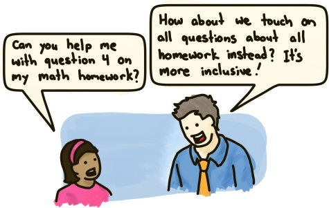 A student asks for help with a specific math question. The teacher suggests to touch on all questions about all homework instead because it's more inclusive.
