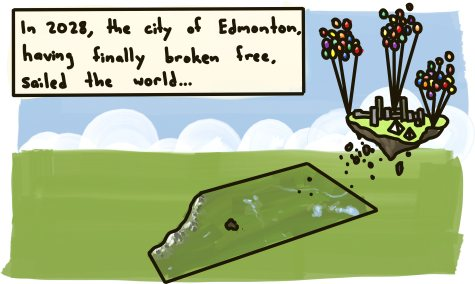 In 2028, the city of Edmonton, having finally broken free, sailed the world.