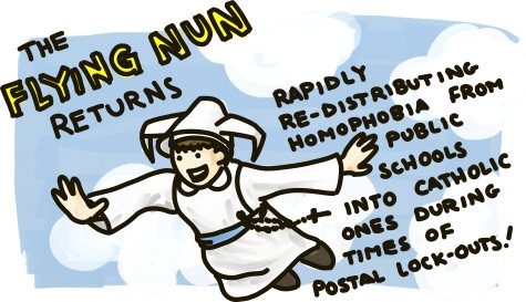 The Flying Nun Returns: Rapidly redistributing homophobia from public schools into Catholic ones during times of postal lock-outs!