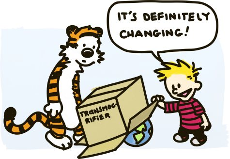 Calvin and Hobbes look under their cardboard Transmogrifier, confirming that the globe they put under it is changing