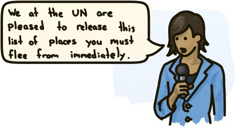 We at the UN are pleased to release this list of places you must flee from immediately.