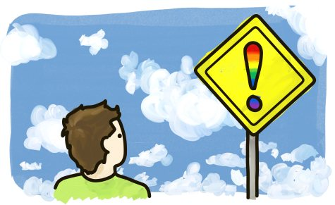 A man stares at a rainbow warning sign.