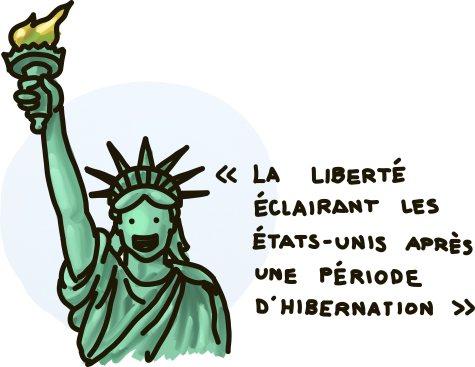 La Liberté éclairant les États-Unis après une période d'hibernation