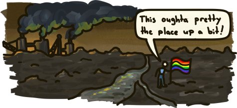 "A man plants a rainbow flag in a disgusting tar sands pit. ""This oughta pretty the place up a bit!"""