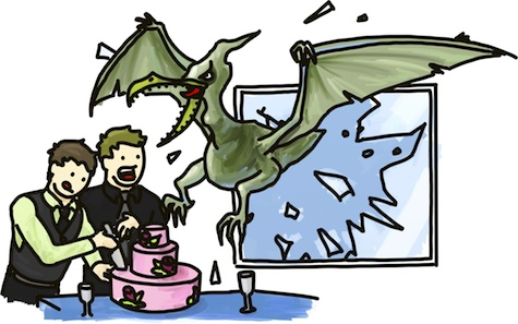 Ruining an otherwise perfect wedding, a pterodactyl crashes through the window just as the cake is being cut.