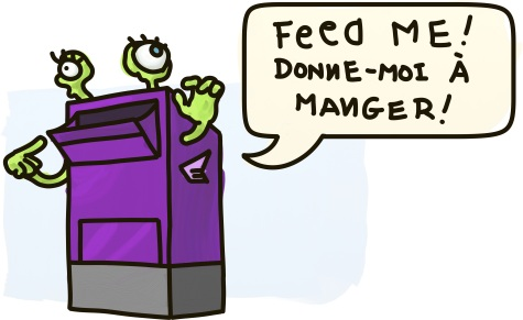 A purple mailbox monster asks to be fed in both of Canada's official languages.