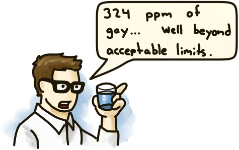 "A scientist inspects a sample of water: ""325 ppm of gay... well beyond acceptable limits."""