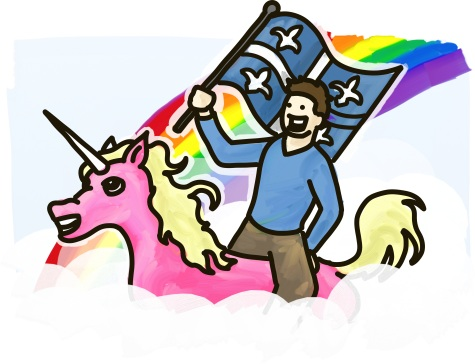 A man rides a pink unicorn through the clouds carrying a Quebec flag.