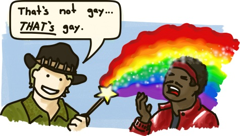 "Crocodile Dundee waves a magic rainbow wand, shooting sparkles at a mugger. ""That's not gay,"" he says. ""THAT'S gay."""