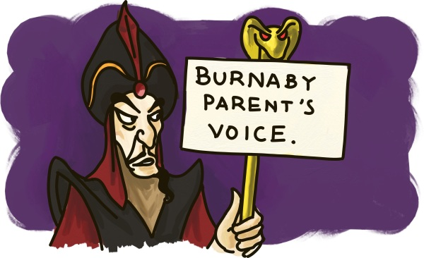 "Jafar from Alladin holds up a sign: ""Burnaby Parent's Voice"""