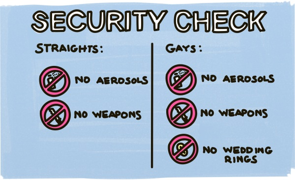 Airport Security Check. Straights: No Aerosols, No Weapons. Gays: No Aerosols, No Weapons, No Wedding Rings.