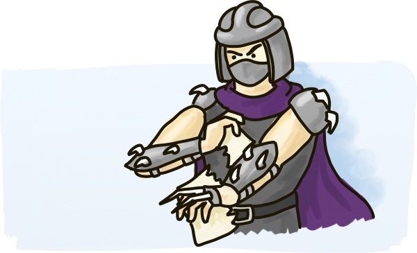 Shredder from the Ninja Turtles rips the Chater of Rights and Freedoms in half.
