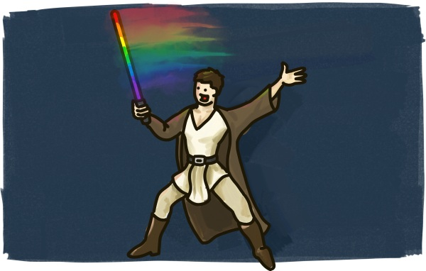 A gay star wars character waves a rainbow lightsabre through the air to create a rainbow.