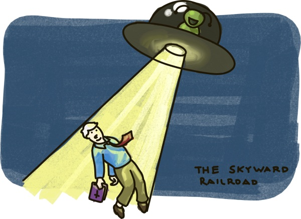 Brian Fischer gets abducted by aliens as part of the just Skyward Railroad.