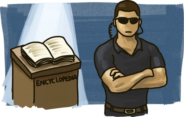 A man dressed in black guards an encyclopedia.