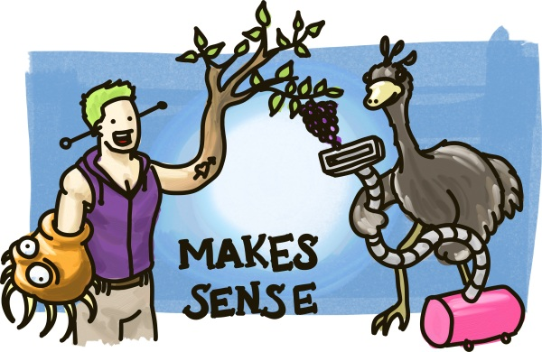 A man with green hair, being eaten by an alien, holds his grape-producing tree-like arm in the air so an ostrich with a vacuum cleaner can suck up the grapes.