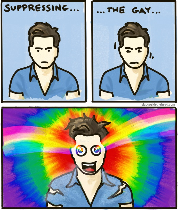 A student tries to suppress his gayness before exploding into a rainbow.
