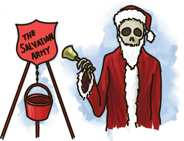 A skeleton bell ringer for The Salvation Army.